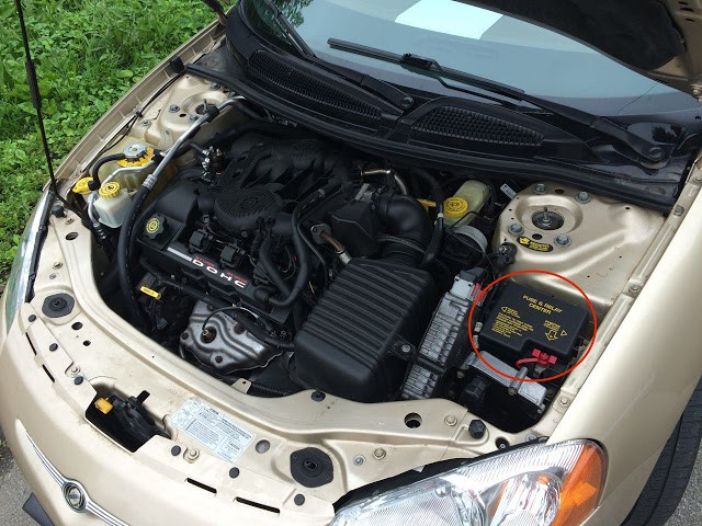 Chrysler Sebring Engine Compartment Fuse Box Location X