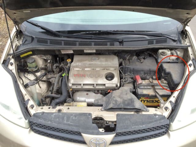 Location of 2004-2010 Toyota Sienna Engine Compartment Fuse Box