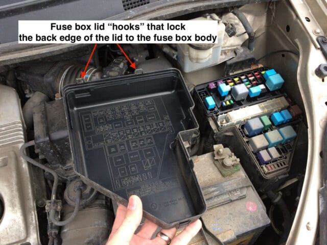 how to replace amp dome light fuse on toyota sienna fuse box lid removed showing the fuse diagram on the inside