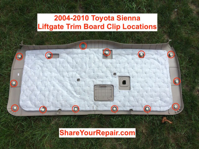 2004-2010 Toyota Sienna Liftgate Tail Light Bulb Replacement-Main Trim Board Clip Locations
