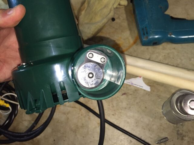 built-in check valve on the battery backup sump pump