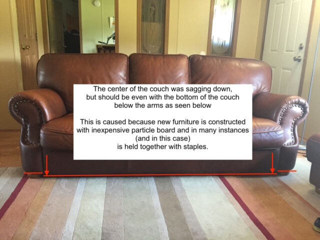 Diagram of sagging couch