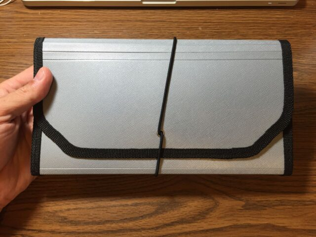Picture of organizer closed with elastic band holding the flap shut
