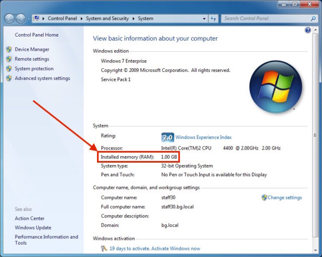 Determining Installed RAM in Windows 7-Control Panel-System and Security-System-1GB RAM