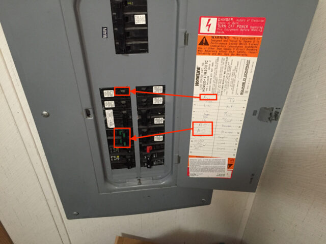 Electrical Panel Labeled for furnace and condenser