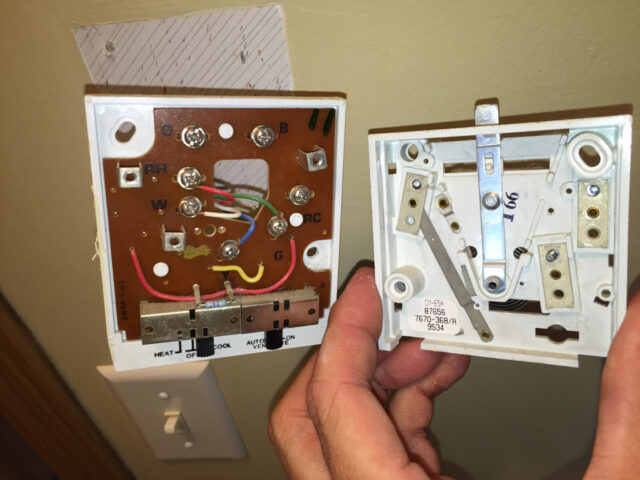 Evcon Thermostat inner panel removed