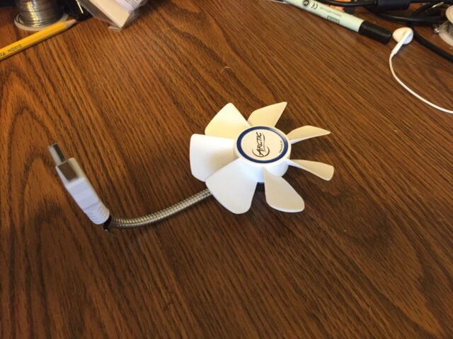 Fan bent for use on the Apple Base Station