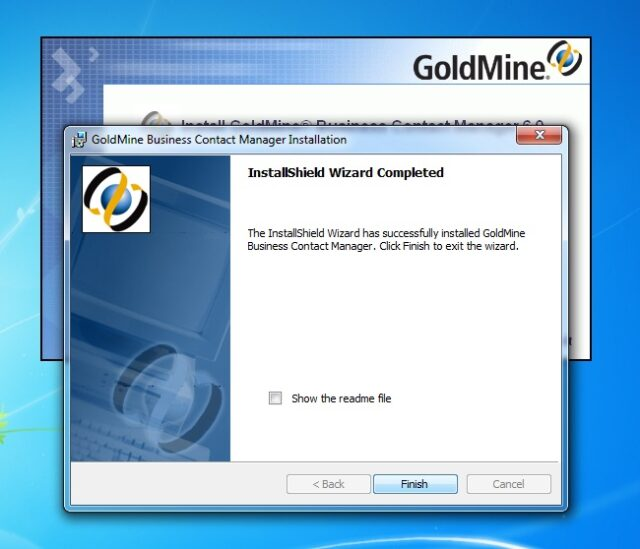 GoldMine Business Contact Manager Installation-InstallShield Wizard Completed