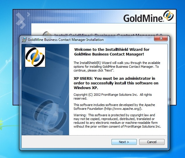 GoldMine Business Contact Manager Installation Welcome Window
