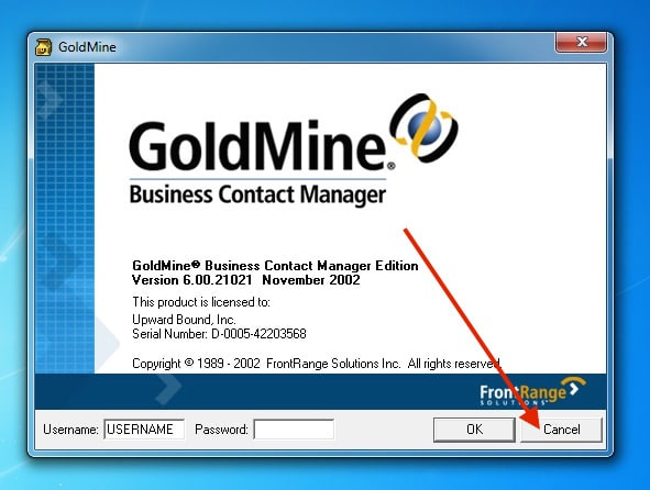 GoldMine Business Contact Manager Login Window