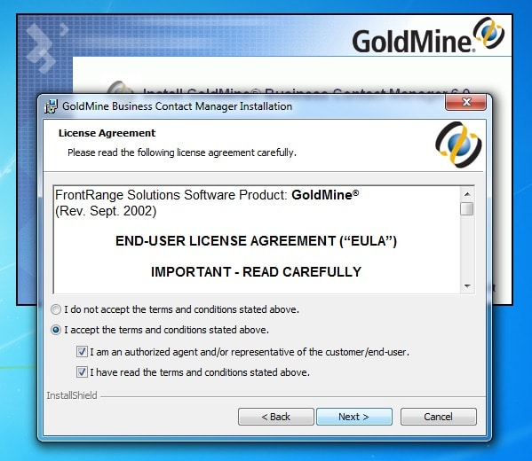 GoldMine End-User License Agreement Accepted