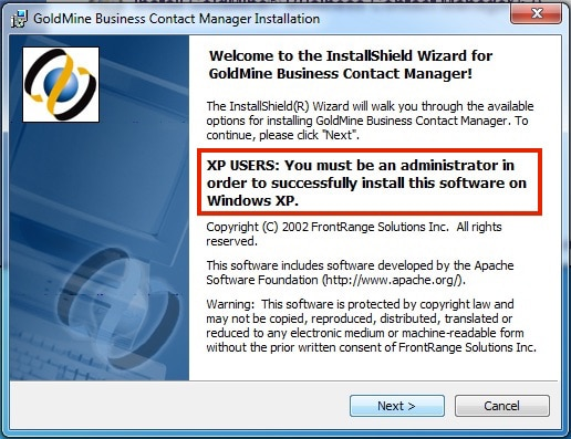 You must be logged in as an administrator to install GoldMine