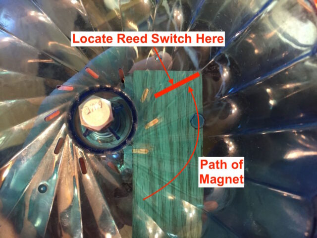Diagram of where to locate the reed switch