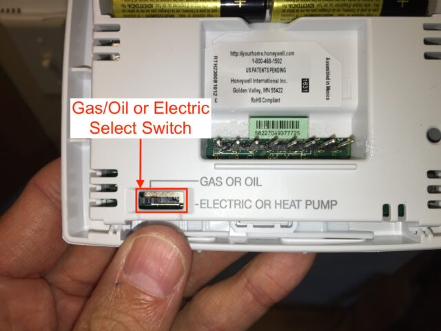Picture of switch to Set Gas/Oil or Electric/Heatpump