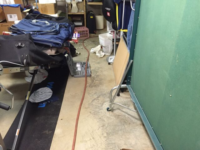Hose running to sump pit