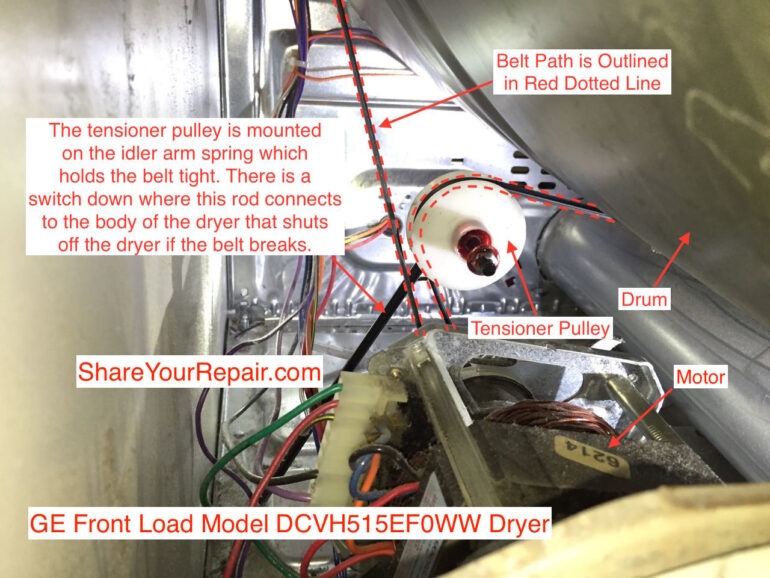 How To Replace Ge Dryer Idler Pulley And Belt  U00b7 Share Your Repair