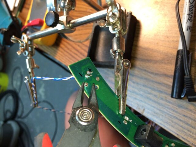 Soldering Wires to Extend the LEDs-Holding with Extra Set of Hands