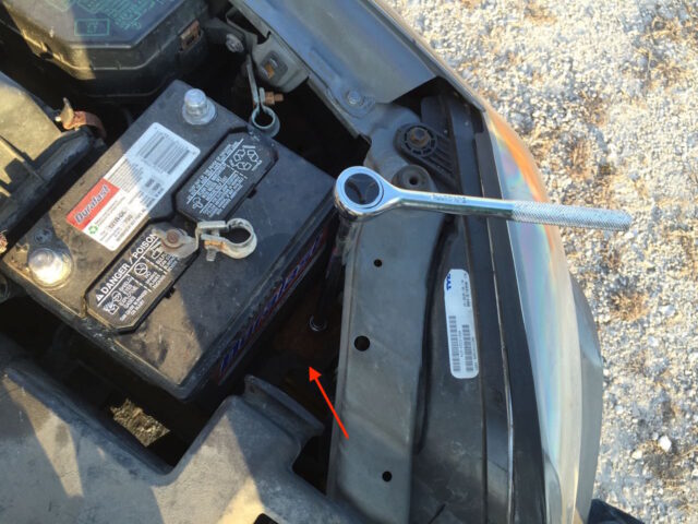 Battery mounting bracket removal
