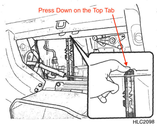 Diagram of How to Release Cabin Air Filter Door Top Latch