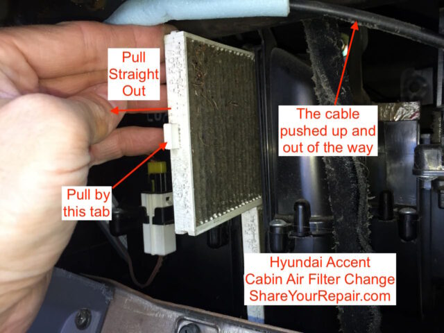 Diagram showing how to remove the top Cabin Air Filter