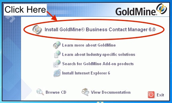 """Click on """"Install GoldMine Business Contact Manager 6.0"""""""