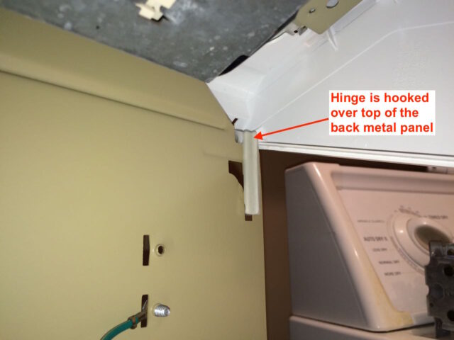 Kenmore 90 Series Washer Fills Slowly-Hinges Must Hook Onto Back-Annotated