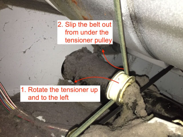 Kenmore Elite Dryer Drum Belt Tensioner Disconnecting