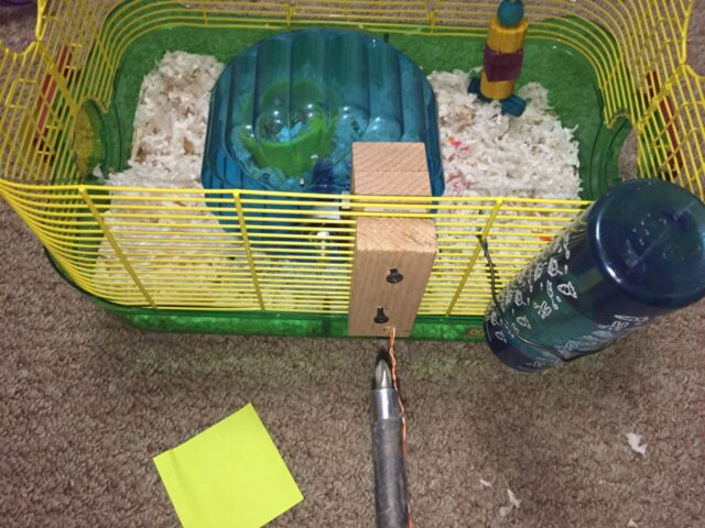 Mounting the hamster wheel on the cage with another block of wood