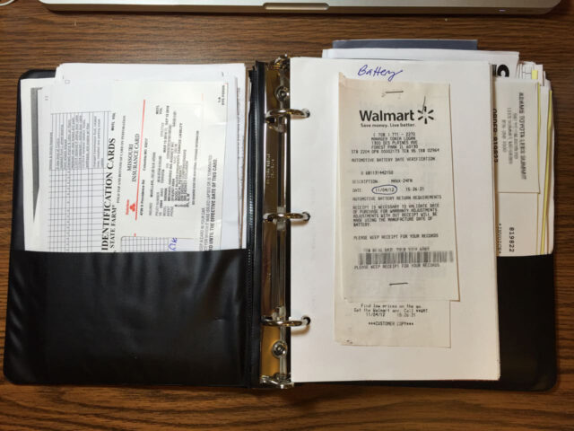 My 3-Ring Notebook Used to Organize my Auto Paperwork