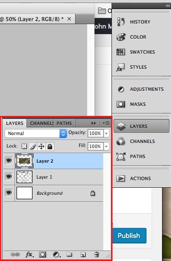 Click LAYERS to display the Layer Menu