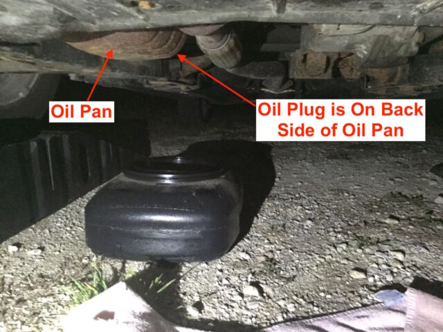 Position the pan under the oil plug