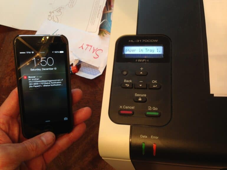 Push Notifications Notifying You That Your Printer is Out of Paper