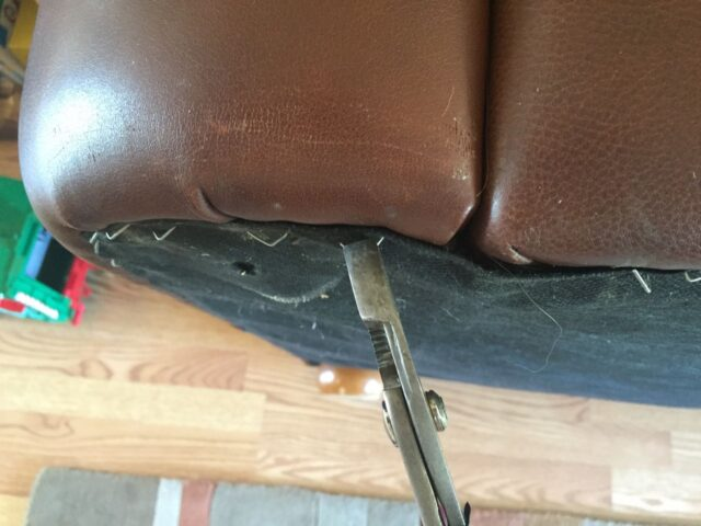 Pulling Couch Staples With Pliers