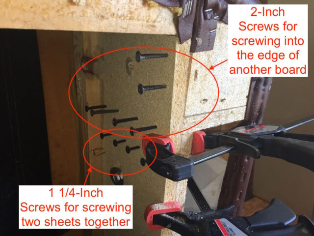 Layout of the screws I added to repair the frame
