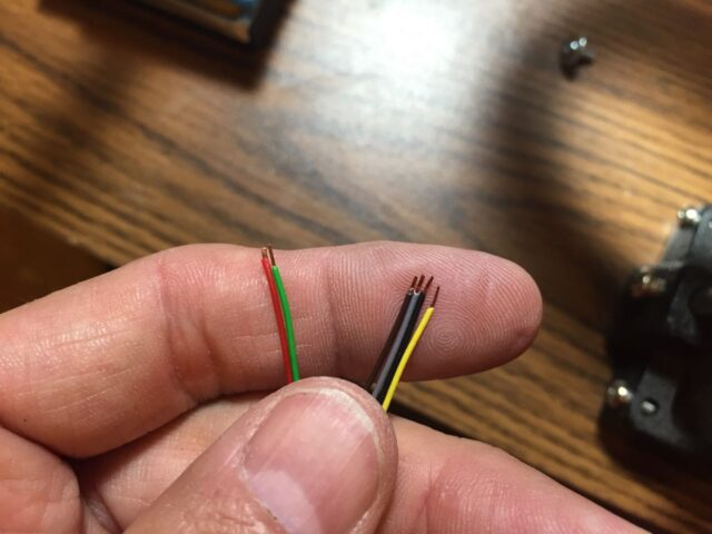 Ends of individual ethernet conductors stripped