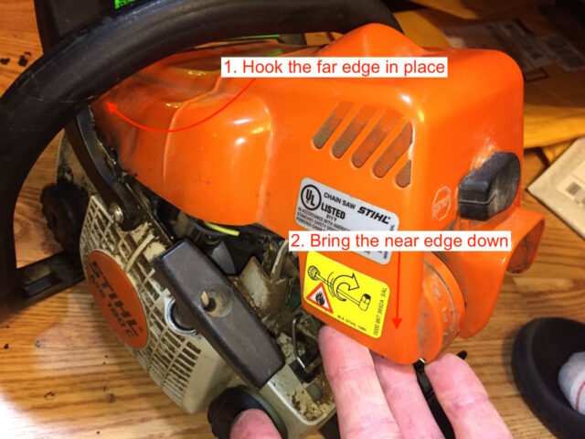 Stihl ms180c chainsaw trigger repair share your repair reinstalling the top cover keyboard keysfo Choice Image