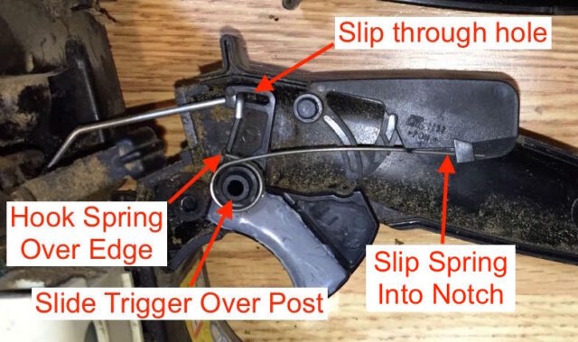 Diagram showing how to reinstall the throttle trigger and spring