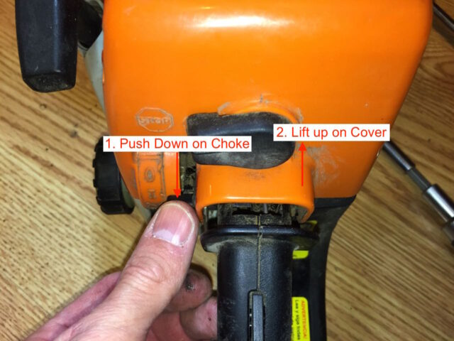 Removing the top cover of the chainsaw