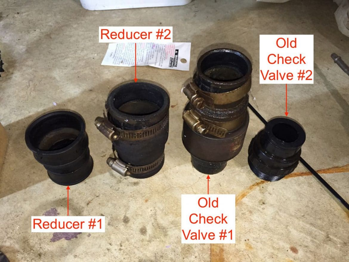 Sump Pump Parts I Took Off Reducers And Check Valve