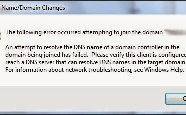 How to Fix Error When Joining Windows Domain on New Install of Windows 7