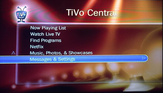 Select Messages & Settings from the TiVo Central Menu