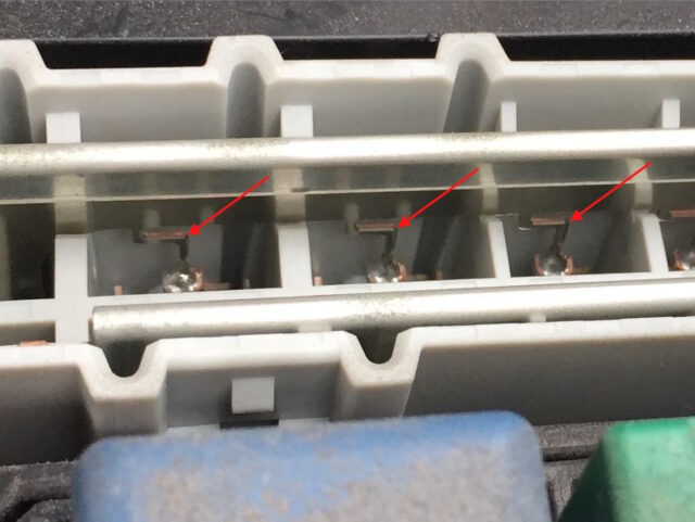 High amp fuse bar traces close up