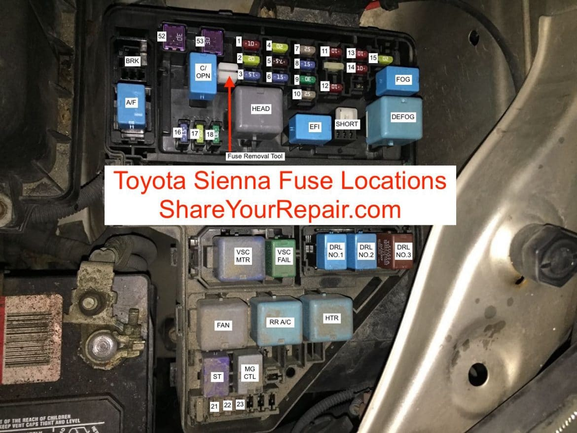 toyota sienna fuse locations · share your repair  share your repair