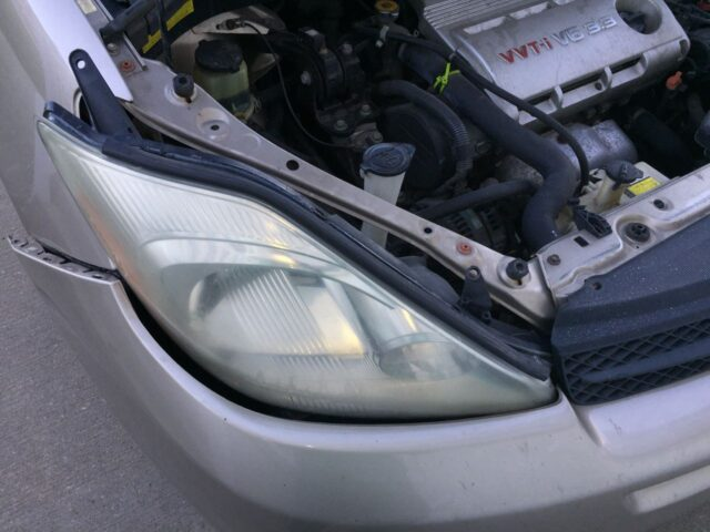 Headlight partially in place