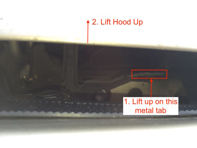 Hood safety release latch close-up