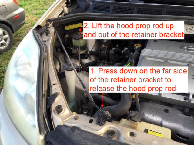 Hood storage rod location
