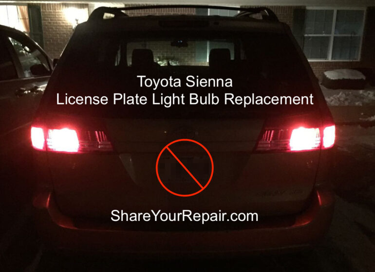 Toyota Sienna License Plate Bulb Replacement