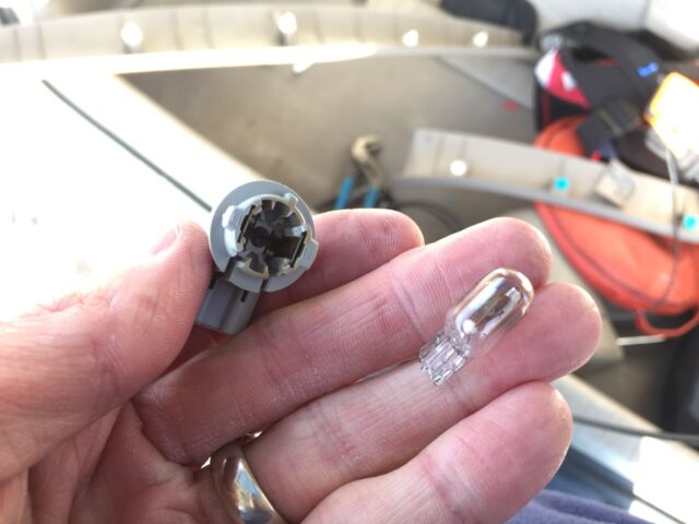 Toyota Sienna License Plate Light Bulbs Removed from Socket