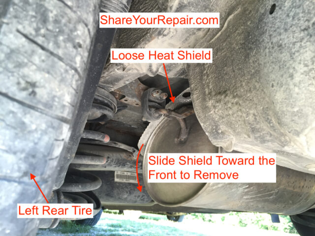 Diagram of how to remove a loose muffler heat shield