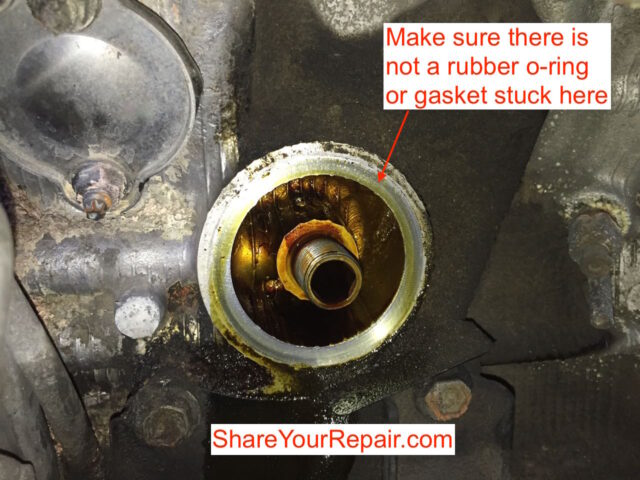 Checking for a stuck oil filter o-ring or gasket